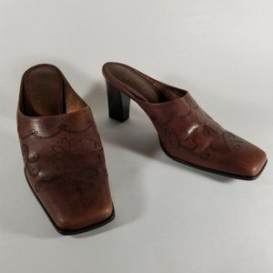 Franco Sarto Floral Engraved Brown Leather Mules
